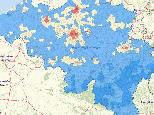 Population density Belgium Map