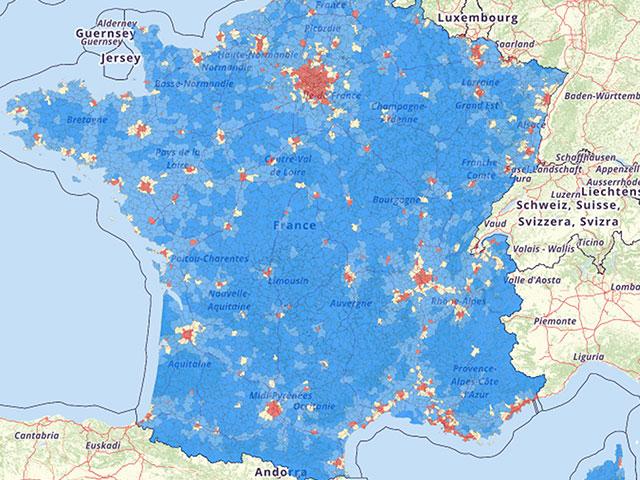 Bevolkingsdichtheid Frankrijk Kaart
