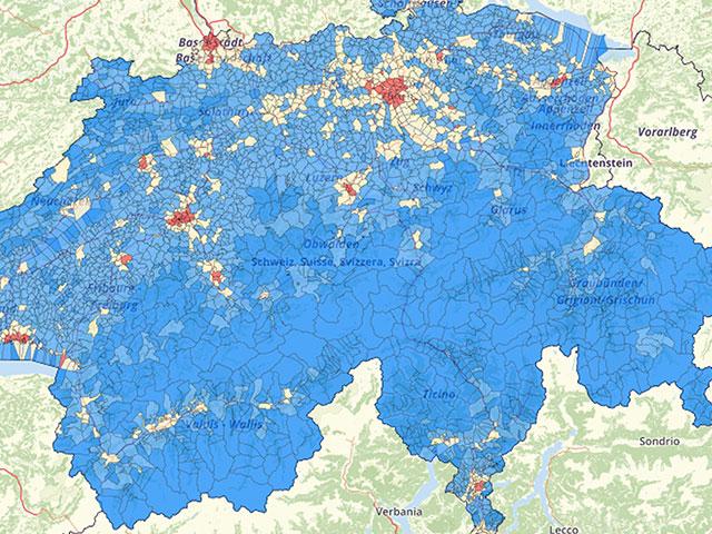 Bevolkingsdichtheid Zwitserland Kaart