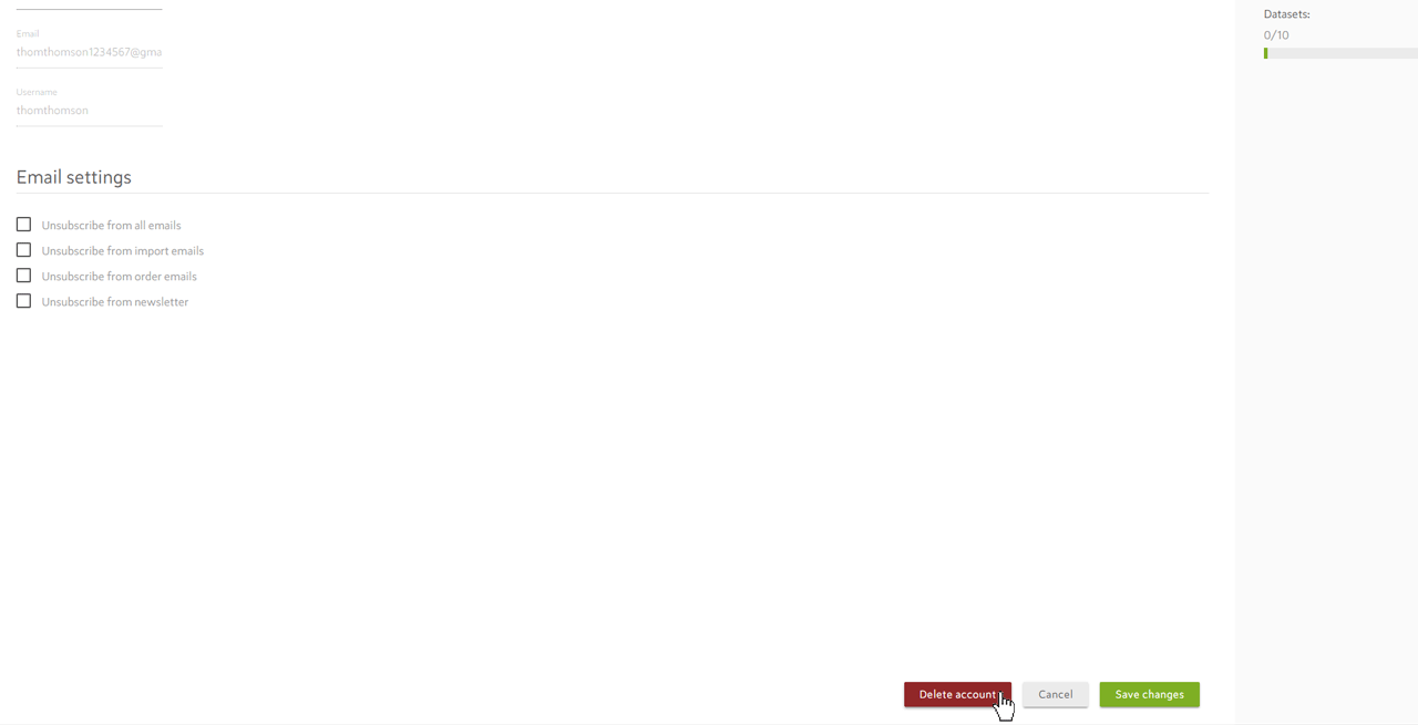 Delete Account Spotzi